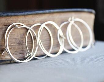 sterling silver hoop earrings, silver hoops, medium .925 minimalist earrings
