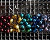 Rainbow Pearl and Crystal Clusters Earrings // Mult Color Freshwater Pearls // Swarovski Crystals // Gunmetal Earrings