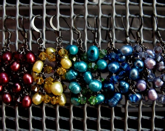Rainbow Pearl and Crystal Clusters Earrings // Mult Color Freshwater Pearls // Swarovski Crystals // Gunmetal Earrings