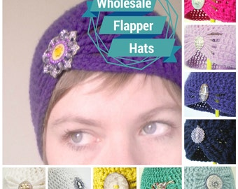 Wholesale Crochet Cloche Hats - Design your own hat with colors and brooches - 10 Hats at Half-Price - Wholesale for Your Shop