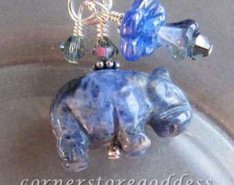 Sodalite Hippo Hippopotamus Charm Zipper Pull