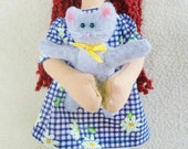 Girl Doll Holding Kitten - Handmade Cloth Doll