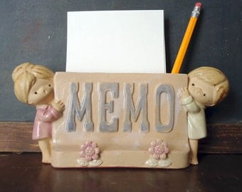 Mid Century Stoneware Ceramic Desk Office Memo Note Holder Lisa Larson Style UCTCI Japan FREE SHIPPING