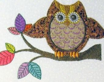 Applique Retro Owl Embroidery Design - 5x7 hoop
