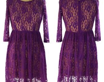 Lace Cocktail Dress / Vintage 90s / Amethyst Purple