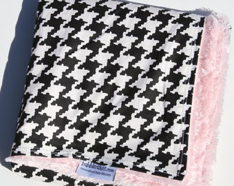 Customized Baby Blanket - Black and White Houndstooth - Pink Minky Baby Girl Blanket
