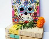 original canvas art | sugar skull | Day of the Dead Art | Skull Art | gothic art | mixed media art | Mexican folk Art | Dia De Los Muertos