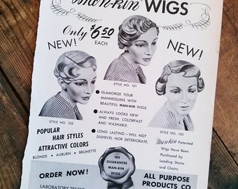 Paper Art Supply Mannequin Wigs Vintage Images Ad Page 1954 Advertising Wigs Mannequins Art Supplies Collage Scrapbooking Mixed Media