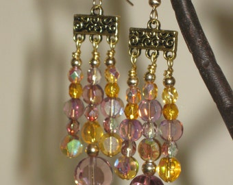 Gold Chandelier Crystal Earrings  - Free Shipping