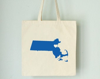 MASSACHUSETTS LOVE Tote Boston royal blue state silhouette with heart on natural bag