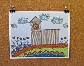 BARN giclée art print, hand illustration, folk art print, wall art, line drawing, hex sign, barn quilt, colorful art print, by cozyblue