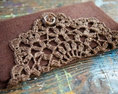 Linen Crochet Hook Case - Holder - Organizer -- brown
