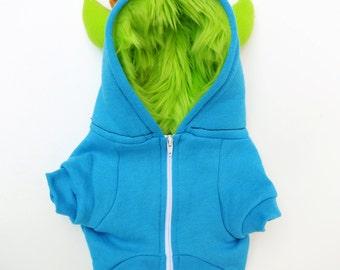 Dog  Monster Hoodie - Aqua with Lime green - Size Large - Pet - monster hoodie, horned sweatshirt, custom jacket
