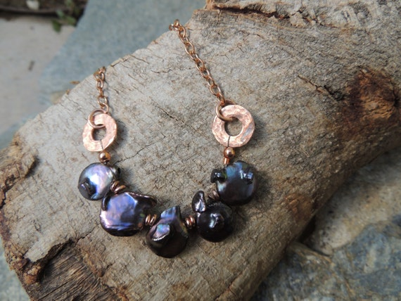 Baroque Pearl Necklace with Copper
