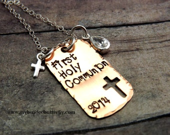 FIrst communion necklace-Handstamped Jewelry-Personalized-My First Communion-necklace-baptism-child of God-religious