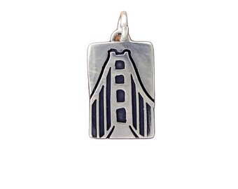 Golden Gate Bridge Necklace - Rectangular Sterling Silver Pendant - San Francisco Charm