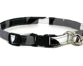 Cat Collar - Black and Grey Camo - Breakaway Safety Cute Fancy Cat Kitten Collar