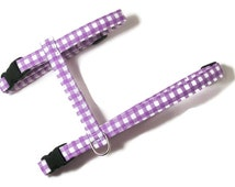 Cat Harness - Purple Gingham - Cute, Soft and Fancy for Cats and Kittens