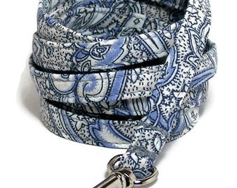 "XS Leash - Vintage Blue Paisley - 3/8"" wide - 4 or 6 Feet long for Cats and Small Dogs"