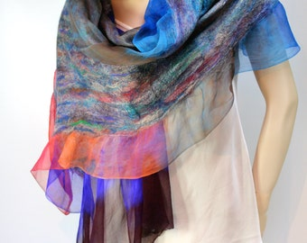 Nuno Shawl-Scarf felted sheer cashmere-soft  merino silk Vibrant Colors