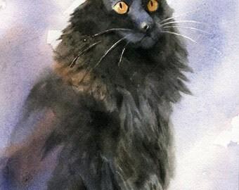 Original Black Cat Art Painting Watercolor Long hair