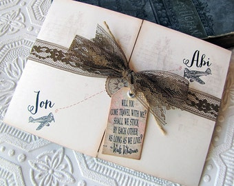 Destination Wedding Invitation Vintage Aviation Rustic World  Map Airplane Compass  Lace Walt Whitman Quote Set of Ten