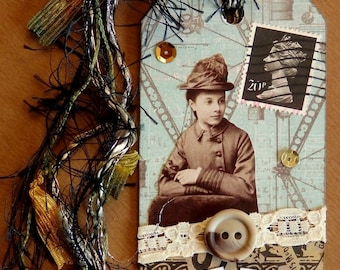 Collaged Shipping Tag - Altered Art - Victorian Lady Steampunk Style - FREE US SHIP