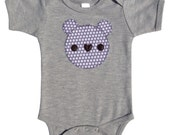Baby Teddy Bear Applique Bodysuit  - Grey Polka Dots - Boy, Girl, Unisex  - New Baby Gift