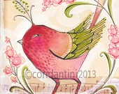 go out on a limb, an 8 x 8 inch archival limited edition print of a whimsical songbird, by cori dantini