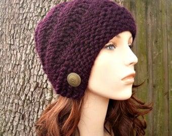 Purple Womens Hat - Hybrid Swirl Cloche Hat Eggplant Purple Knit Hat - Purple Hat Purple Beanie Purple Cloche Womens Accessories Winter Hat