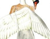White Swan Artwork Fantasy Illustration Anthro Art Original Collage on Paper Fairy Tale Wall Art Pretty Bird Lady