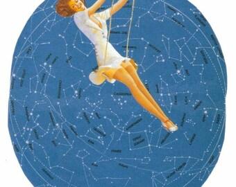 Pin Up Girl Decor Original Collage Art Star Map Art Pinup Artwork Starry Night Sky Wall Art Paper Collage