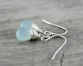 Light Blue Earrings, Sterling Silver Earrings, Chalcedony Gemstone Earrings, Sky Blue Earrings, Pale Blue Earrings, Wire Wrap Earrings