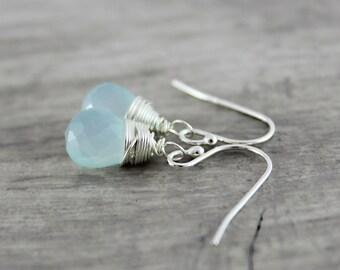 Light Blue Earrings, Sterling Silver Earrings, Chalcedony Gemstone Earrings, Sky Blue Earrings, Pale Blue Earrings, Wire Wrap Earrings