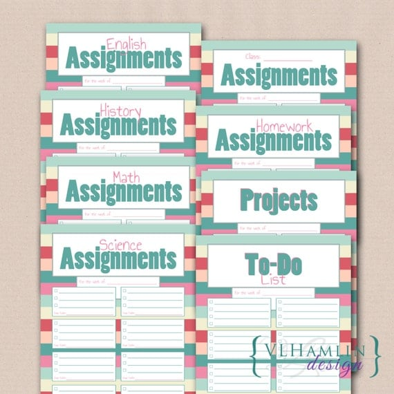Printable Student Planner, Class Assignments, Sweet Summer