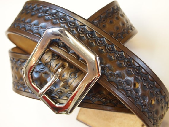 Leather Belt Custom  Hand Tooled made in New York City