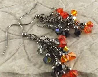 Bengal Tiger black and orange gunmetal finish Swarovski Crystal cascade french hook earrings