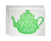 Tea Pot Screen Printed Card