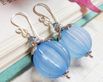 Sihaya Designs Pumpkin Earrings - Blue Moon Pumpkins in Sterling Silver- Halloween Pumpkin Jack O'Lantern Jewelry