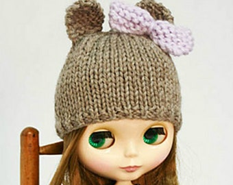 Blythe doll bear hat with bow knitting PATTERN - instant download - permission to sell finished objects