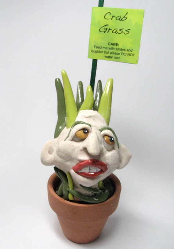 OOAK polymer clay art doll sculpture - garden sculpture - Crab Grass