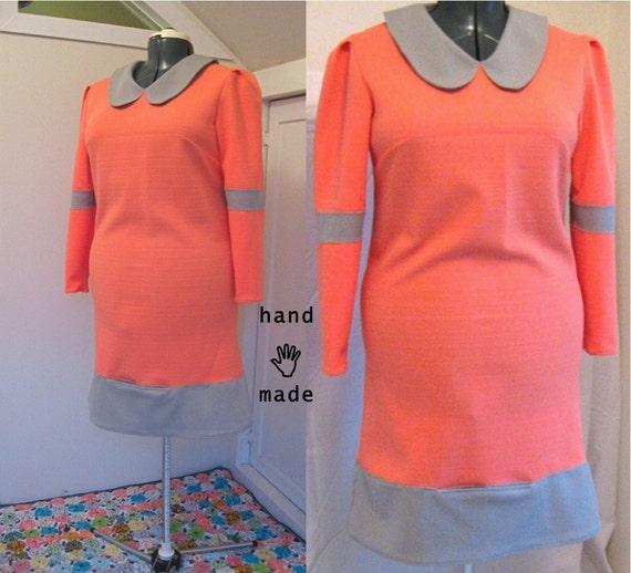 SALE - NewWave Dress - long sleeve, pocket, size 14, size 16, XL, mock orange and grey, emo Rocker style -- 43B-38W-43H