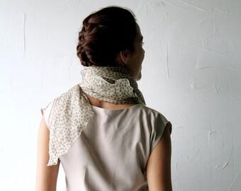 Silk scarf, Silk shawl, Bridal shawl, Wedding scarf, Ecru scarf, polka dot scarf, womens accessories, stole, shrug, chiffon scarf, cream