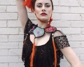 1920's Orange Vibrant Ostich feather hat showgirl