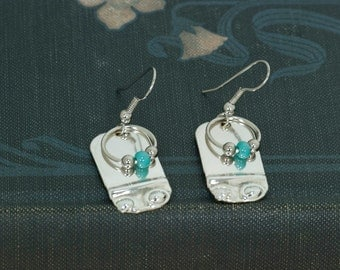 Sterling over brass Earrings with a Turquoise Glass Bead