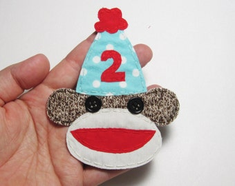 Sock Monkey Party Hat Applique,Sock Monkey Patch,Party Sock Monkey,Sock Monkey,Fabric Sock Monkey,Party Monkey Patch,Party Hat-Made to Order