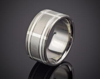 Titanium Plaid Silver Ring