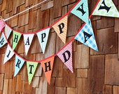 Bright Happy Birthday Flags, 2 Bunting Banners.  A Unique Party Decoration. Two Flag Buntings, Two Sided, More Value. Designer's Choice.