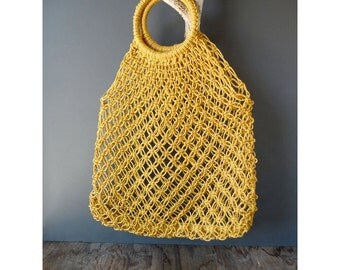 Reserved - Woven Jute Tote Bag  - Vintage Rope Bag for the Beach - Market Bag - Bohemian Purse