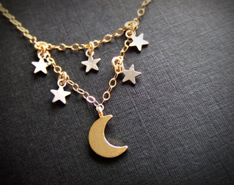 Moon and the Stars Jewelry Necklace - Silver Star Charms - Gold Crescent Charm - Constellations - Gift for Her - Shooting Stars - Night Sky